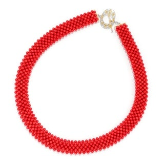 Michael Valitutti Palladium Silver Red Bamboo Coral Woven Bead Toggle Necklace
