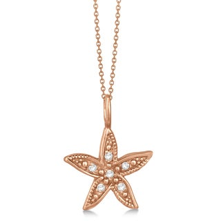 14k Gold 0.04ct Diamond Accented Petite Starfish Pendant Necklace