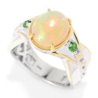 Michael Valitutti Palladium Silver Ethiopian Opal & Chrome Diopside Textured Men's Ring