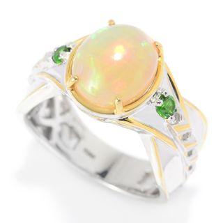 Michael Valitutti Palladium Silver Ethiopian Opal & Chrome Diopside Textured Men's Ring