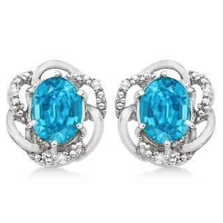 14k Gold 3.05ct Oval Shaped Blue Topaz & Diamond Earrings in