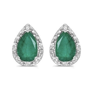 14k Gold 1.40ct Pear Emerald and Diamond Stud Earrings