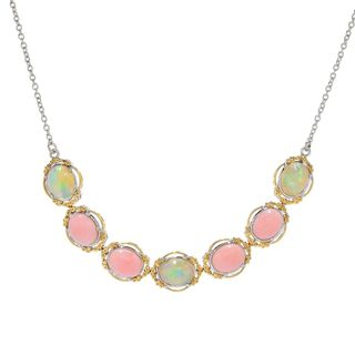Michael Valitutti Palladium Silver Ethiopian Opal & Pink Opal Seven-Stone Necklace
