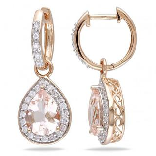 14k Gold 3.30ct Diamond & Pear Shaped Morganite Drop Earrings