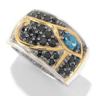Michael Valitutti Palladium Silver Cleopatra London Blue Topaz & Black Spinel Eye of Horus Band Ring
