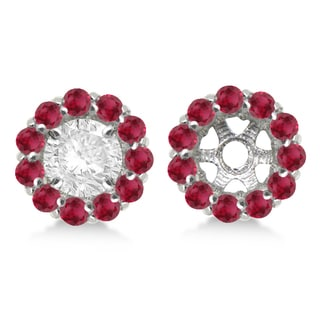 14k Gold 1.08ct Round Ruby Earring Jackets for 5mm Studs
