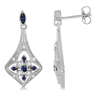 1.18ctw Blue Sapphire and Diamond Chandelier Earrings Sterling Silver