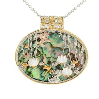 Michael Valitutti Palladium Silver Abalone & Mother-of-Pearl Overlay Pendant|https://ak1.ostkcdn.com/images/products/15078265/P21568270.jpg?impolicy=medium