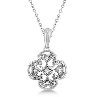 0.03ct Four Leaf Diamond Clover Pendant Necklace Sterling Silver