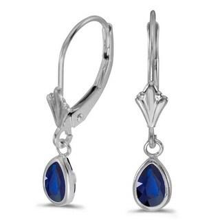 14k Gold 0.90ct Pear Blue Sapphire Drop Dangling Earrings