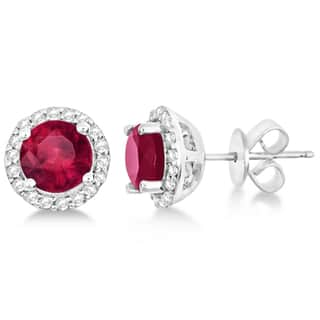 2.27ct Ladies Ruby & Diamond Halo Stud Earrings in Sterling Silver|https://ak1.ostkcdn.com/images/products/15078284/P21568233.jpg?impolicy=medium