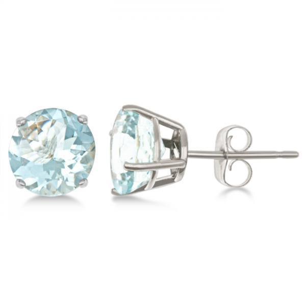 2 50ct Aquamarine Stud Earrings Sterling Silver G Set