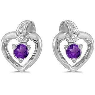 14k Gold 0.20ctw Amethyst and Diamond Heart Earrings