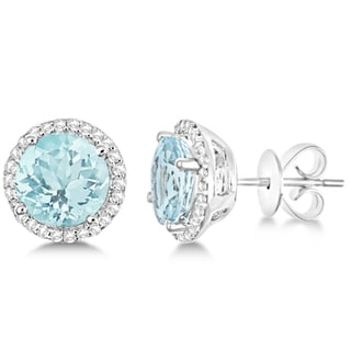 14k Gold 2.66ct Round Aquamarine & Diamond Halo Stud Earrings