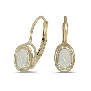 14k Gold Bezel-Set Oval Opal Lever-Back Earrings