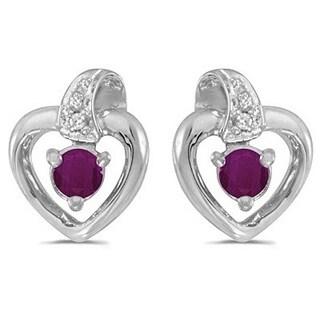14k Gold 0.30ctw Ruby and Diamond Heart Earrings