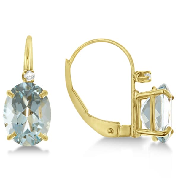 14k Gold 2.12ct Aquamarine Drop Earrings with Accent Diamond
