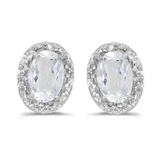 14k Gold 1.14ct Diamond and White Topaz Earrings