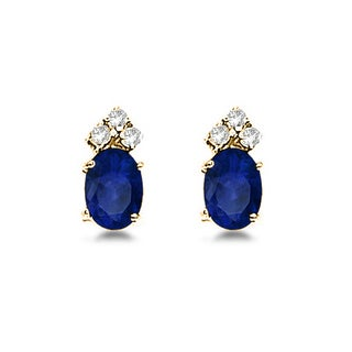 14k Gold 1.24ct Oval Blue Sapphire and Diamond Stud Earrings