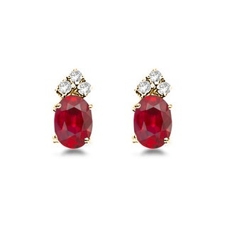 14k Gold 1.24ct Oval Ruby and Diamond Stud Earrings