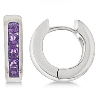 0.70ct Purple Amethyst Hoop Earrings Channel Set Sterling Silver