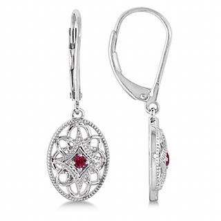0.06ct Leverback Vintage Ruby Earrings in Sterling Silver