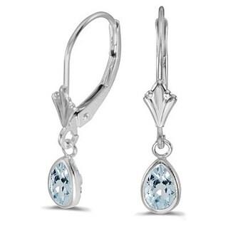 14k Gold 0.70ct Aquamarine Dangling Drop Lever-Back Earrings