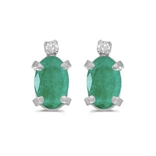 14k Gold 0.90ct Oval Emerald and Diamond Studs Earrings