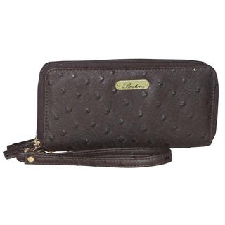 Buxton Ostrich Brights Slim Double Zip Wristlet Wallet