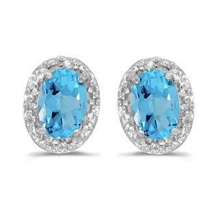 14k Gold 1.14ct Diamond and Blue Topaz Earrings