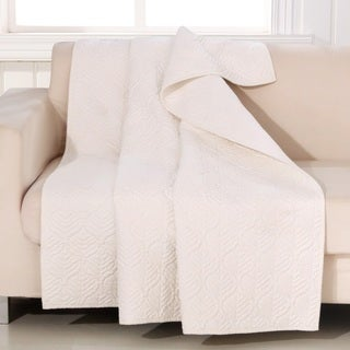 Barefoot Bungalow Piper Ivory Quilted Throw