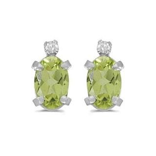 14k Gold 1.12ct Oval Peridot and Diamond Studs Earrings