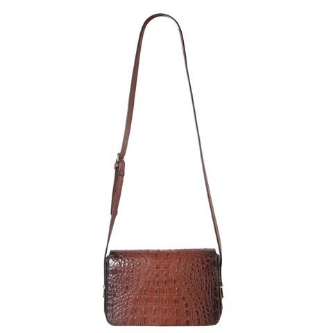 Diophy Solid Crocodile Pattern Small Crossbody Handbag