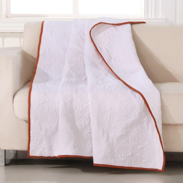 Barefoot Bungalow Cameo Whisper White Quilted Throw