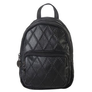 Diophy Solid Quilted Pattern Small Fashion Backpack
