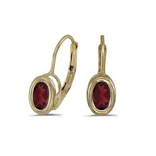 14k Gold Bezel-Set Oval Garnet Lever-Back Earrings