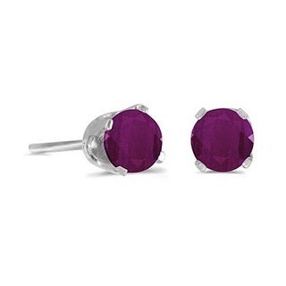 14k Gold 0.60ct Round Ruby Studs Earrings in