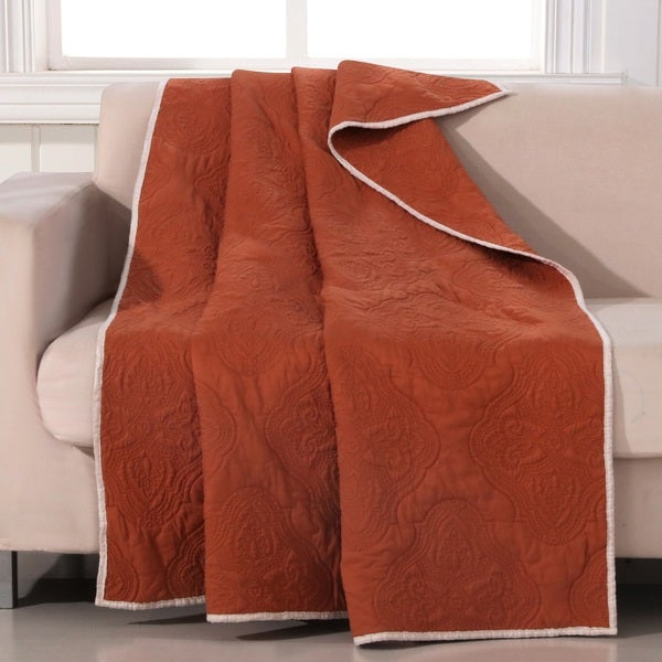 Barefoot Bungalow Cameo Rust Quilted Throw