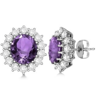 14k Gold 10.80ctw Oval Amethyst & Diamond Accented Earrings