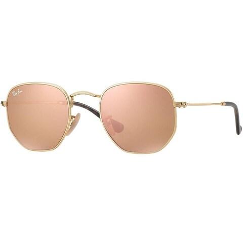 Ray-Ban Hexagonal RB3548N 001/Z2 Men's Gold Frame Copper Flash Lens Sunglasses