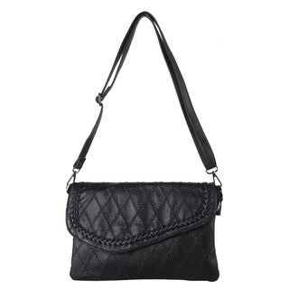 Diophy Solid Quilted Pattern Crossbody Handbag