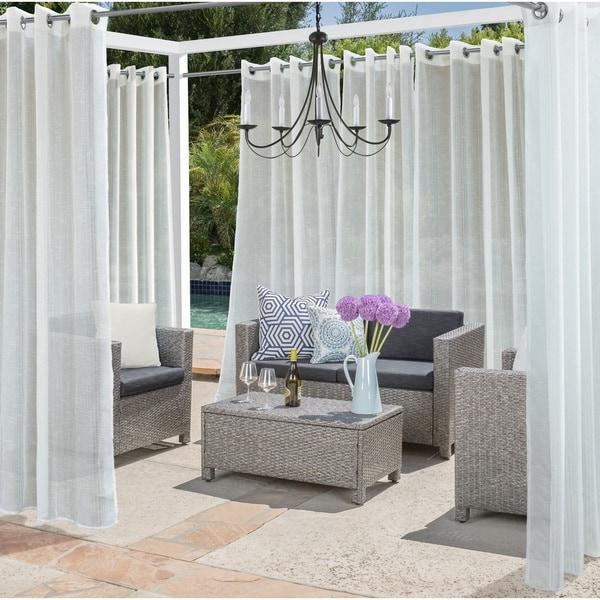 Shop Louisa Semi Sheer Metallic Stripe Indoor Outdoor Curtain Panel