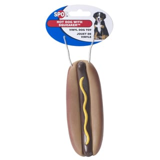 """Spot 5"""" Vinyl Hot Dog With Squeaker Dog Toy"""