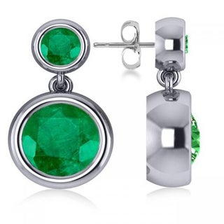 14k Gold 4.50ct Double Emerald Bezel Gemstone Drop Earrings
