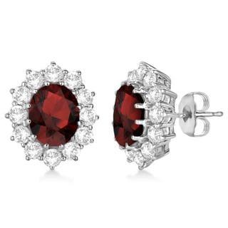 14k Gold 7.10ctw Oval Garnet and Diamond Earrings