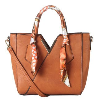 Diophy Front Metal V Décor Small Colorful Scarves Top Handle Satchel Handbag|https://ak1.ostkcdn.com/images/products/15079035/P21568877.jpg?impolicy=medium