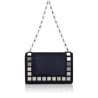Tomasini Navy Suede Mirror Embellished Clutch
