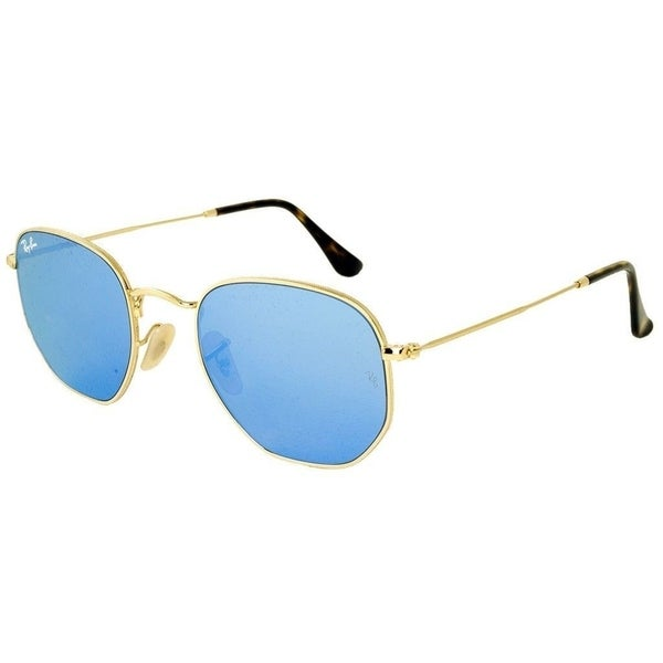 c0605b9c455 Ray-Ban RB3548N Hexagonal Flat Lenses Sunglasses Gold  Light Blue Gradient  Flash 51mm