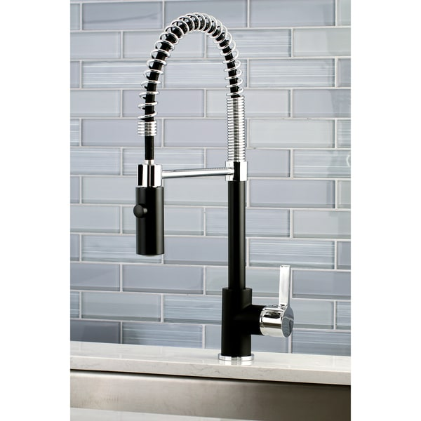 Shop Black Chrome Modern Spiral Pulldown Kitchen Faucet Free - Black faucet for kitchen