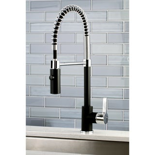 Kingston Brass Black/Chrome Brass Modern Spiral Pulldown Kitchen Faucet